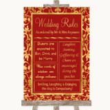Red & Gold Rules Of The Wedding Customised Wedding Sign