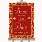 Red & Gold Save The Date Customised Wedding Sign