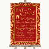 Red & Gold Signature Favourite Drinks Customised Wedding Sign