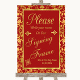 Red & Gold Signing Frame Guestbook Customised Wedding Sign