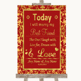 Red & Gold Today I Marry My Best Friend Customised Wedding Sign