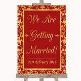 Red & Gold We Are Getting Married Customised Wedding Sign