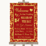 Red & Gold Welcome Order Of The Day Customised Wedding Sign