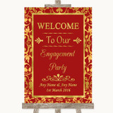 Red & Gold Welcome To Our Engagement Party Customised Wedding Sign