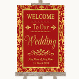 Red & Gold Welcome To Our Wedding Customised Wedding Sign