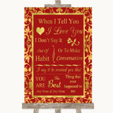 Red & Gold When I Tell You I Love You Customised Wedding Sign