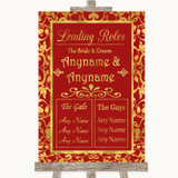 Red & Gold Who's Who Leading Roles Customised Wedding Sign