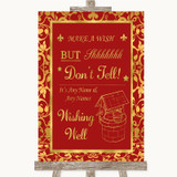 Red & Gold Wishing Well Message Customised Wedding Sign
