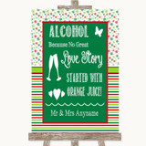 Red & Green Winter Alcohol Bar Love Story Customised Wedding Sign