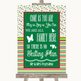 Red & Green Winter All Family No Seating Plan Customised Wedding Sign