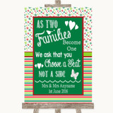 Red & Green Winter As Families Become One Seating Plan Customised Wedding Sign