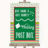 Red & Green Winter Card Post Box Customised Wedding Sign