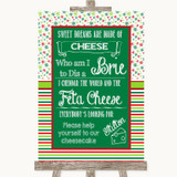 Red & Green Winter Cheesecake Cheese Song Customised Wedding Sign