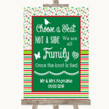 Red & Green Winter Choose A Seat We Are All Family Customised Wedding Sign