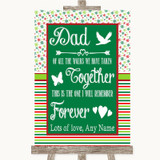 Red & Green Winter Dad Walk Down The Aisle Customised Wedding Sign