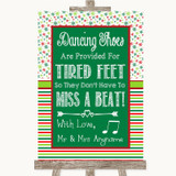 Red & Green Winter Dancing Shoes Flip-Flop Tired Feet Customised Wedding Sign