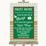 Red & Green Winter Don't Post Photos Facebook Customised Wedding Sign