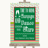 Red & Green Winter Drink Champagne Dance Stars Customised Wedding Sign