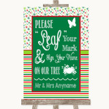 Red & Green Winter Fingerprint Tree Instructions Customised Wedding Sign