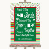 Red & Green Winter Friends Of The Bride Groom Seating Customised Wedding Sign