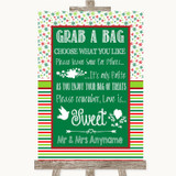Red & Green Winter Grab A Bag Candy Buffet Cart Sweets Customised Wedding Sign