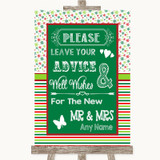 Red & Green Winter Guestbook Advice & Wishes Mr & Mrs Customised Wedding Sign
