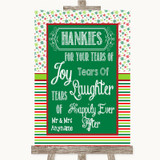 Red & Green Winter Hankies And Tissues Customised Wedding Sign