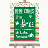 Red & Green Winter Here Comes Bride Aisle Sign Customised Wedding Sign
