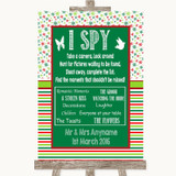 Red & Green Winter I Spy Disposable Camera Customised Wedding Sign