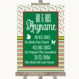 Red & Green Winter Important Special Dates Customised Wedding Sign