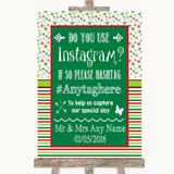 Red & Green Winter Instagram Photo Sharing Customised Wedding Sign
