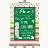 Red & Green Winter Jenga Guest Book Customised Wedding Sign
