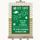 Red & Green Winter Let Love Sparkle Sparkler Send Off Customised Wedding Sign