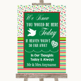 Red & Green Winter Loved Ones In Heaven Customised Wedding Sign