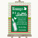 Red & Green Winter Message In A Bottle Customised Wedding Sign