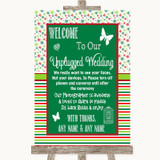 Red & Green Winter No Phone Camera Unplugged Customised Wedding Sign