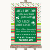 Red & Green Winter Pick A Prop Photobooth Customised Wedding Sign