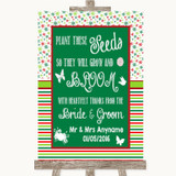 Red & Green Winter Plant Seeds Favours Customised Wedding Sign