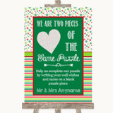 Red & Green Winter Puzzle Piece Guest Book Customised Wedding Sign