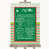 Red & Green Winter Romantic Vows Customised Wedding Sign