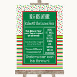 Red & Green Winter Rules Of The Dance Floor Customised Wedding Sign