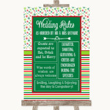Red & Green Winter Rules Of The Wedding Customised Wedding Sign