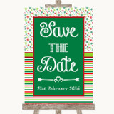 Red & Green Winter Save The Date Customised Wedding Sign