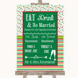 Red & Green Winter Signature Favourite Drinks Customised Wedding Sign