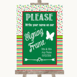 Red & Green Winter Signing Frame Guestbook Customised Wedding Sign