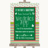 Red & Green Winter Wedpics App Photos Customised Wedding Sign