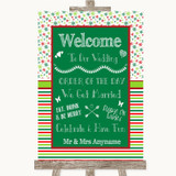 Red & Green Winter Welcome Order Of The Day Customised Wedding Sign