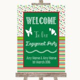 Red & Green Winter Welcome To Our Engagement Party Customised Wedding Sign