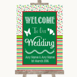 Red & Green Winter Welcome To Our Wedding Customised Wedding Sign