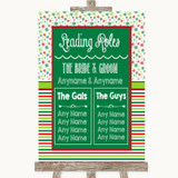 Red & Green Winter Who's Who Leading Roles Customised Wedding Sign